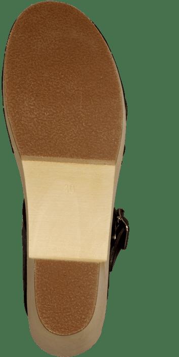 Swedish Hasbeens - Peep Toe High Black/Nature Sole