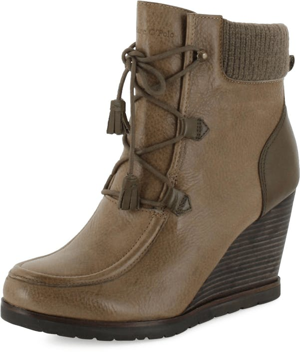 Wedge Bootie Oily Calf Printed Taupe