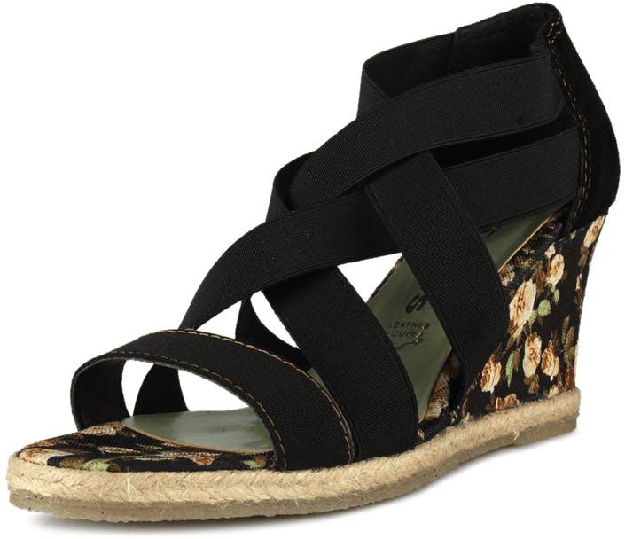 Tamaris sandaler 1 1 28386 ( tyg textil svart klack