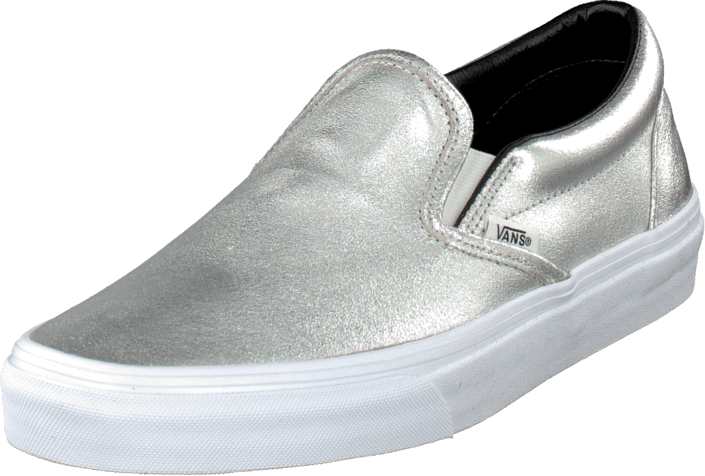 7ccb6c0254 Buy Vans Classic Slip-On (Metallic Leather) Silver blue Shoes Online ...