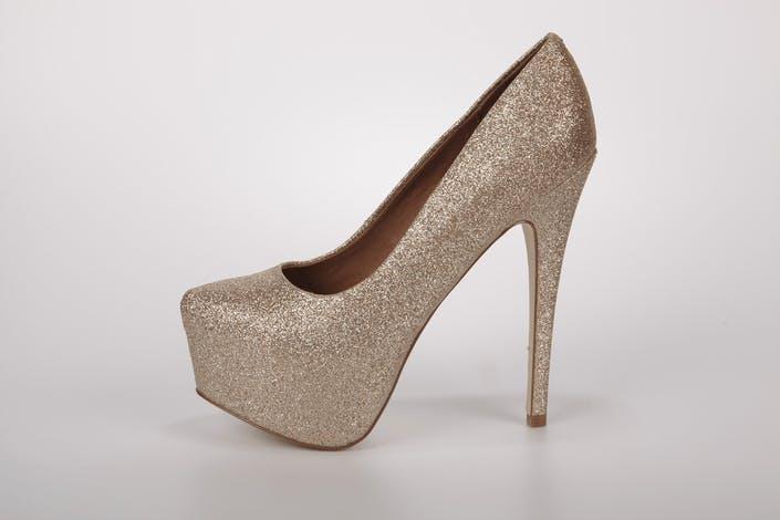 Steve Madden Dejavu Platform Heels Gold Glitter Women
