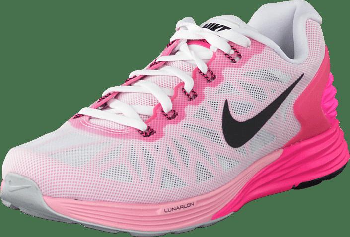 Wmns Nike Lunarglide 6 White/Black-Pink Pow-Spc Pink