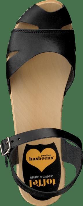 Swedish Hasbeens - Suzanne Debutant Black/Nature sole