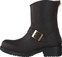 Low Boot Zip Back Brown/Shiny Gold