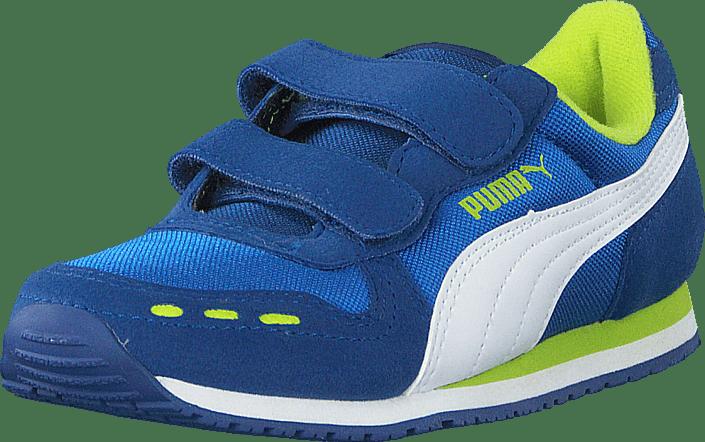 6969ac45ada0 Buy Puma Cabana Racer Mesh V Kids Puma Royal-White blue Shoes Online ...