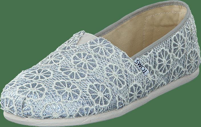 Buy Toms Seasonal Classics Silver Crochet Glitter Grey Shoes Online
