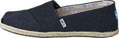 Seasonal Classics Black Washed Canvas Rope Sole