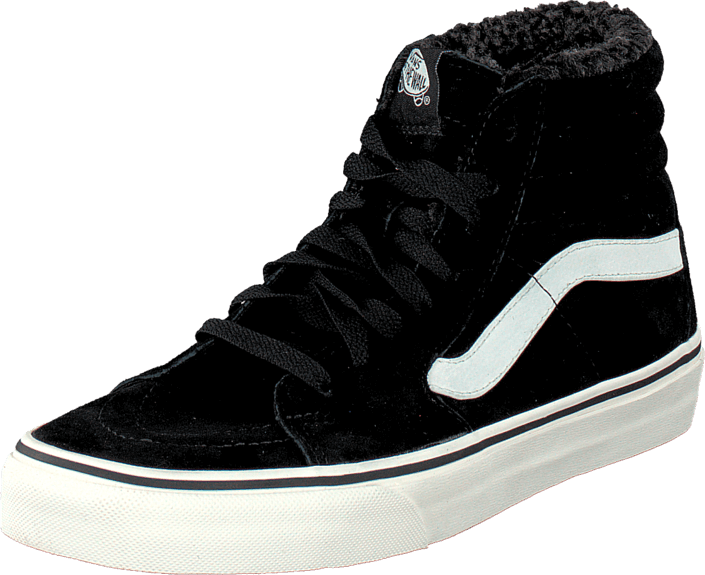 Buy Vans SK8-Hi (Pig Suede Fleece) Black Blanc black Shoes Online ... 88e6c564c4bf3