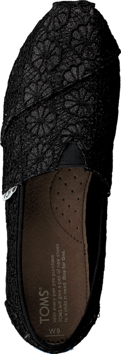 Toms - Wm Seasonal Classic Black crochet glitter