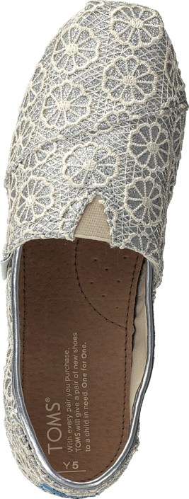 Köp Toms Seasonal classic youth Silver crochet glitter Grå Skor ... 5fabd0db8cf12