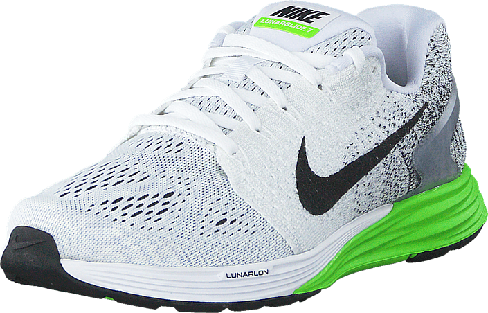 new concept 86b89 4fcce Nike Lunarglide 7 White/Black-Electric Green