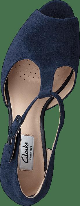 60f8579e1c8 Buy Clarks Kendra Flower Navy Suede blue Shoes Online