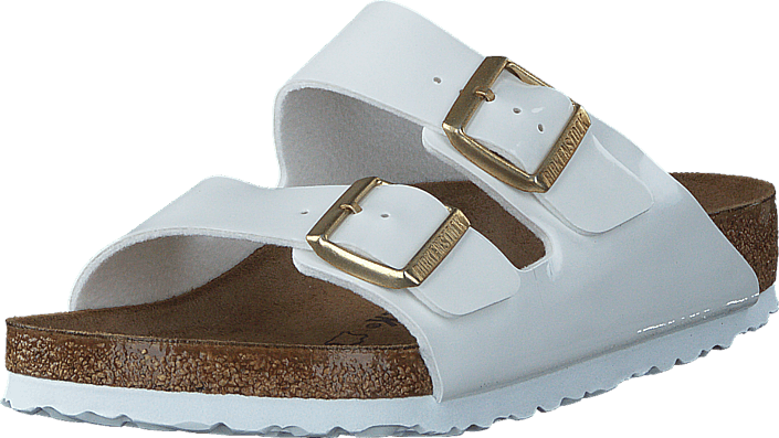 a62c964c8ad Buy Birkenstock Arizona Birko-Flor Patent White brown Shoes Online ...