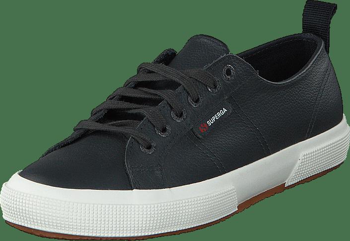 Superga 2750 FGLU Leather blå Navy svarta Skor Online