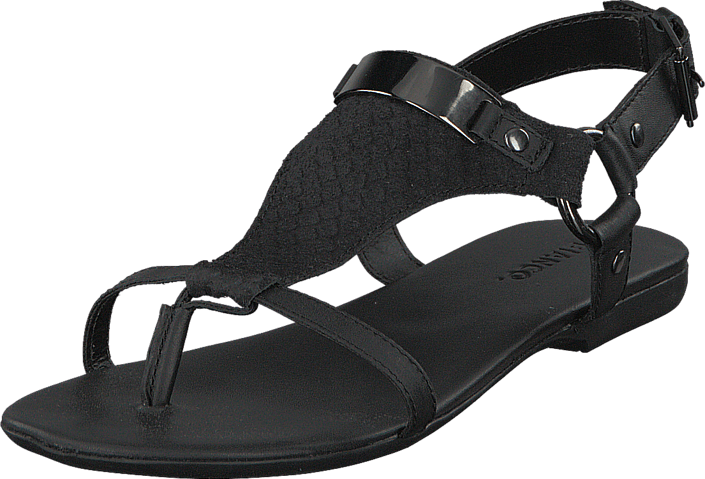 bianco hvide sko, Cross Leather Sandal Sort, Bianco Herre