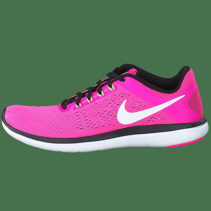 Wmns Nike Flex 2016 Rn Pnk BlastWhite Blk Elctrc Grn