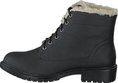 Laced Up Warm Boot Black