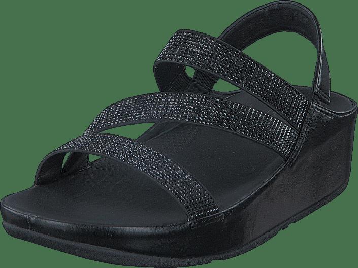Crystal Z strap Sandal Black