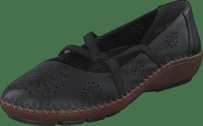 Black Flats 44887 00 Rieker Kjøp Online Sko Sorte wSqZnvt