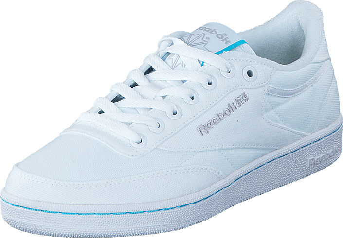 5013b17359ba64 Buy Reebok Classic Club C85 TC White Neon Blue Steel white Shoes ...