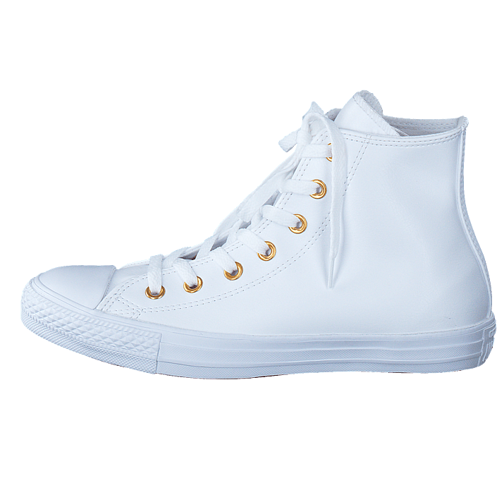 Köp Converse All Star Classic Hi Leather WhiteGold Vita