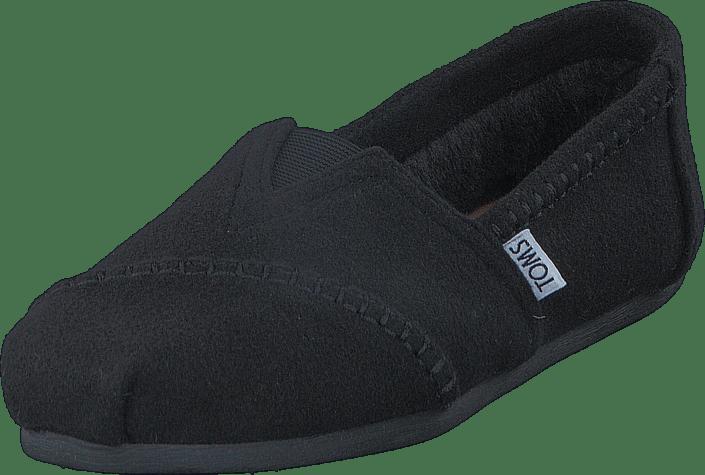 Toms - Seasonal Classic Black Wool/Faux Shearling