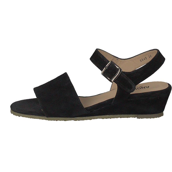 Wedge heeled Sandal W. Buckle Black