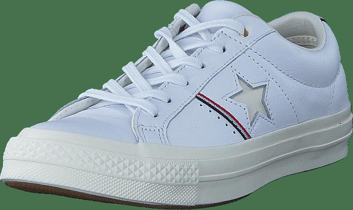 Kjøp Converse One Star White enamel Red egret Hvit Sko Online ... df53d4513