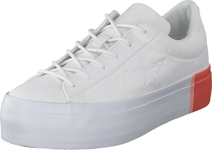 b6efd6eefa209c Buy Converse One Star Platform White bright Poppy white grey Shoes ...