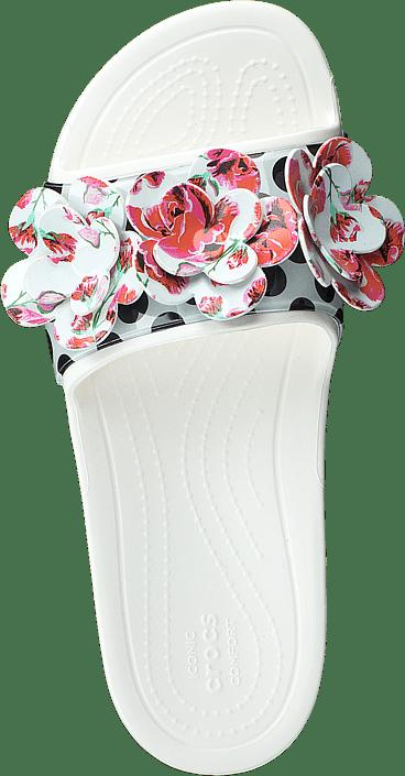 Kjøp Crocs Sloane Timeless Roses Slide White Sko Online