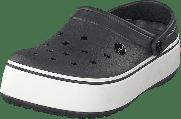 fa97acccffb Buy Crocs Crocband Platform Clog Black white grey Shoes Online ...