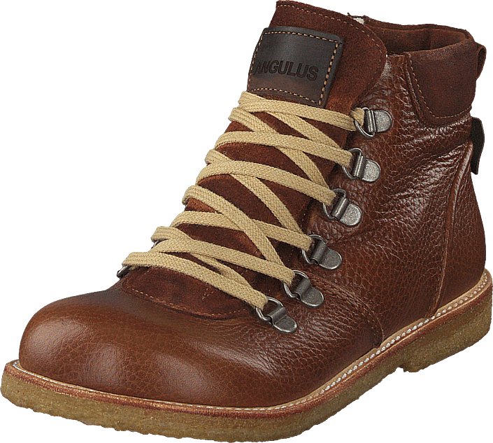 Angulus - Tex-boot With Zipper And Laces Cognac / Brown