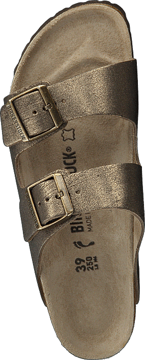 Birkenstock - Arizona Slim Leather Washed Metallic Antique Gold