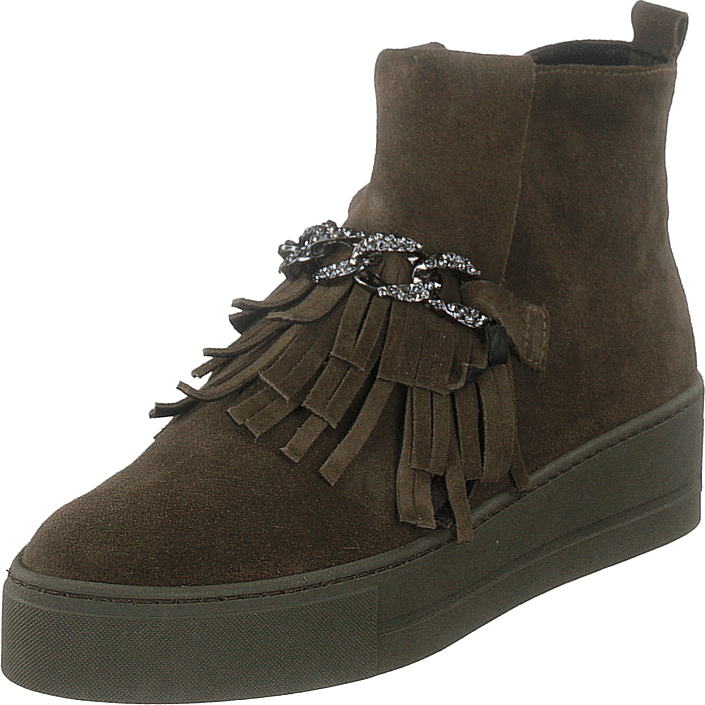 A Pair - Pointed Sneak With Chain Velour Army