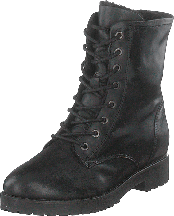 Laced Up Boot W/wool Ond18 100-black