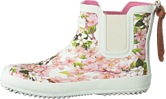 Mini Rubberboot Creme Flowers