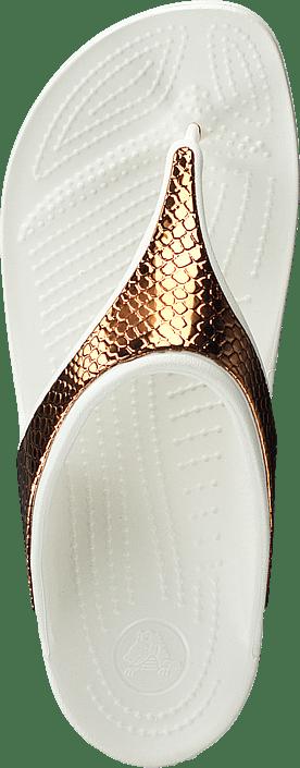 W Sloane Hvite Flip Online Sandals Bronze Kjøp Crocs Sko Metaltxt oyster qfxwWaI4Ag
