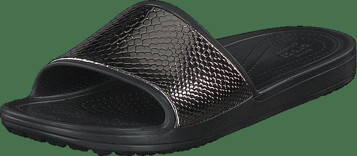 Crocs - Crocs Sloane Metaltext Slide W Gunmetal/black