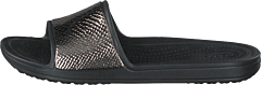 Crocs Sloane Metaltext Slide W Gunmetal/black