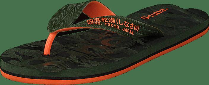 Superdry Scuba Grit Flip Flop Khaki khaki orange gröna Skor Online