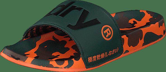 Superdry Superdry Aop Beach Slide Khaki svart orange svarta Skor Online