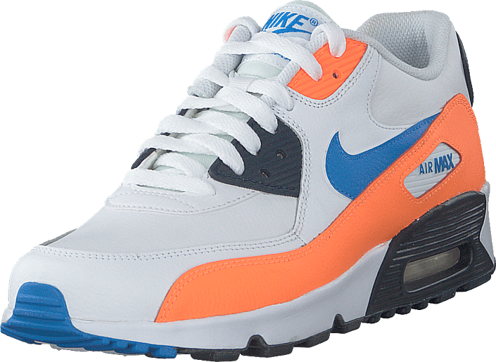 Nike - Boys' Air Max 90 Leather (gs) White/photo Blue-total Orange