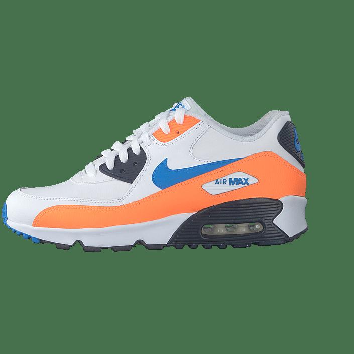 Boys' Air Max 90 Leather (gs) Whitephoto Blue total Orange