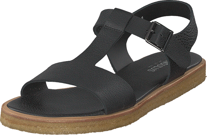 Angulus - Sandal With Buckle And Plateau Black