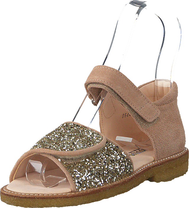 Angulus - Sandal With Velcro Closure Nude/champagne Glitter