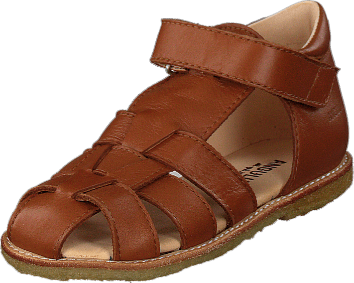 Angulus - Fisherman Sandal With Velcro Cognac
