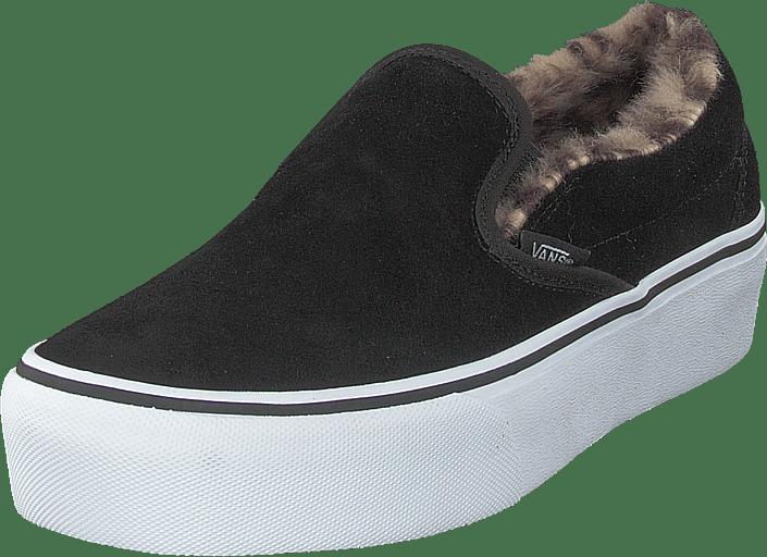 644acede4aaf63 Buy Vans Ua Classic Slip-on Platform (suede fur) Black leopard black ...