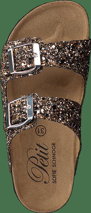 Sandal Glitter, 2 Straps Black Gold