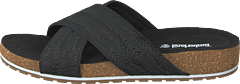 Malibu Waves Cross Slide Black Embossed Suede