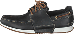 Heger's Bay 3 Eye Boat Black Full Grain